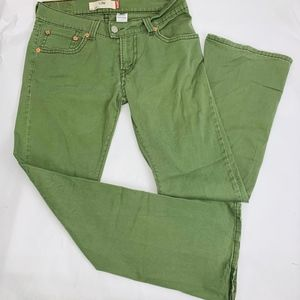 Levis 542 Womens Jeans 12M Green Low Rise Boot